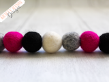 Felt Ball Garland - Plum Grey - Krafty Hands Designs