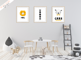 Scandinavian - Moon and Stars - Set of 3- Nursery Prints - Krafty Hands Designs