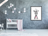 Safari Zebra With Pink Bubble - Nursery Print - Krafty Hands Designs