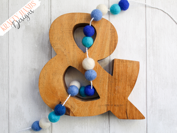 Felt Ball Garland - Ocean Blue - Krafty Hands Designs