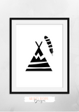 Scandinavian - Tipi - Nursery Print - Krafty Hands Designs