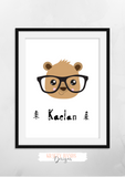 Personalised Scandinavian Bear with Glasses -Nursery Print - Krafty Hands Designs