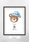 Watercolour - Blue Bear Hug - Set of 3- Nursery Prints - Krafty Hands Designs