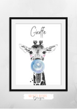 Safari Giraffe With Blue Bubble- Nursery Print - Krafty Hands Designs