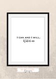 Motivational Quote - I Can and I Will, Watch Me- Home - Print - Krafty Hands Designs
