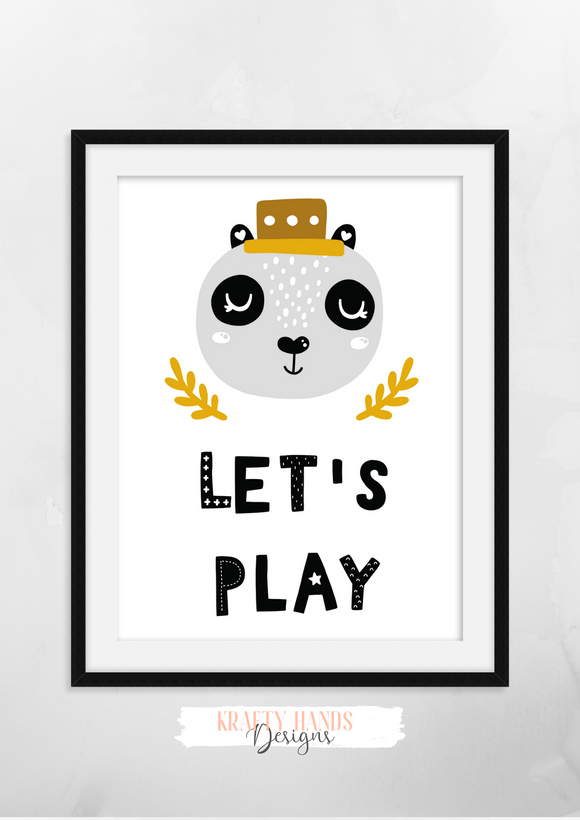 Scandinavian - Let's Play- Nursery Print - Krafty Hands Designs