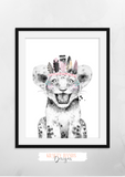 Safari Lion With Pink Feather -Nursery Print - Krafty Hands Designs