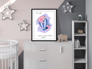 Floral Blue - Hot Air Balloon - Nursery Print - Krafty Hands Designs