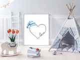 Love Heart - Blue Hat - Nursery Print - Krafty Hands Designs