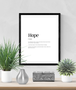 Personalised - Hope - Definitions - Home Print - Krafty Hands Designs
