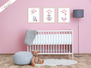 Watercolour - Pink Elephant - Set of 3- Nursery Prints - Krafty Hands Designs