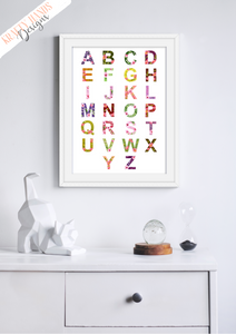 Floral Alphabet - Nursery Print - Krafty Hands Designs