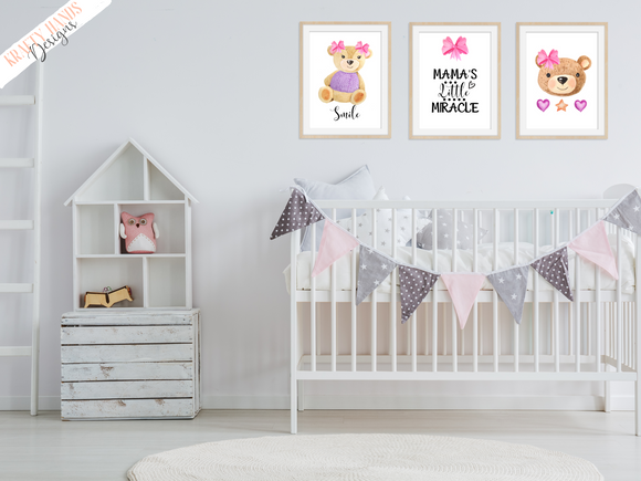 Watercolour - Pink Little Miracle Bear - Set of 3- Nursery Prints - Krafty Hands Designs