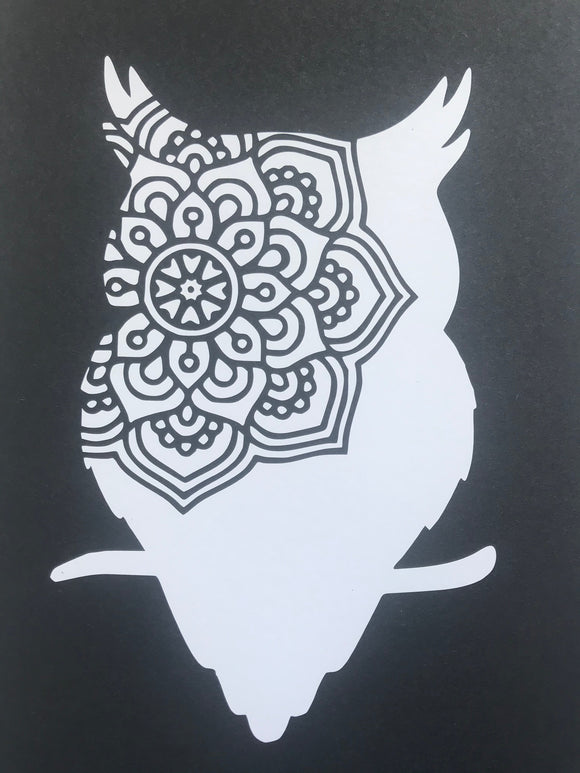 Owl - Zentangle - Vinyl Wal Decal - Krafty Hands Designs