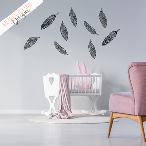 Falling Feathers - Zentangle - Vinyl Wall Decal - Krafty Hands Designs
