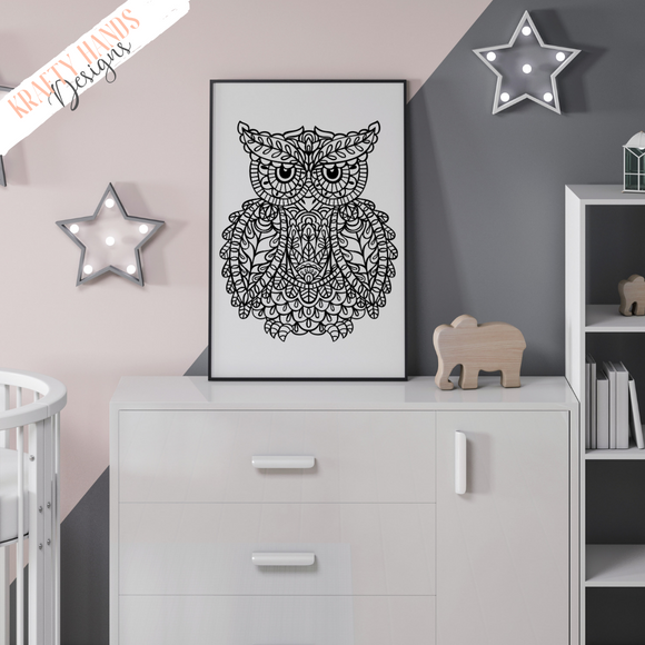 Line Owl - Mandala - Vinyl Wall Decal - Krafty Hands Designs