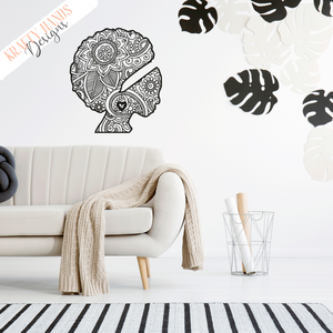 Afro Woman - Zentangle - Vinyl Wall Decal - Krafty Hands Designs