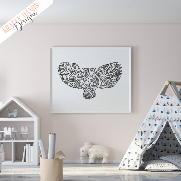 Winged Owl - Zentangle - Vinyl Wall Decal - Krafty Hands Designs