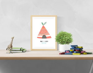 Personalised Tipi Name and Birth Information - Nursery Print - Krafty Hands Designs
