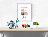 Personalised Super Hero Scandinavian Bear - Nursery Print - Krafty Hands Designs