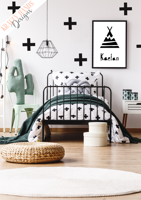 Personalised Scandinavian Tipi - Nursery Print - Krafty Hands Designs
