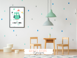 Personalised Owl Room Name - Nursery Print - Krafty Hands Designs