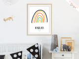 Personalised Colourful Rainbow - Nursery Print - Krafty Hands Designs