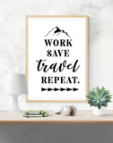 Motivational Quote - Work, Save, Travel, Repeat - Home - Print - Krafty Hands Designs
