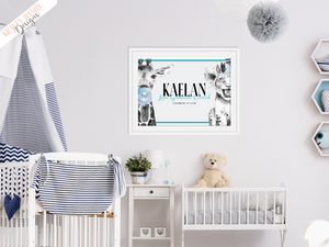 Personalised Girl and Boy Name and Birth - Safari Giraffe and Lion - Nursery Print - Krafty Hands Designs