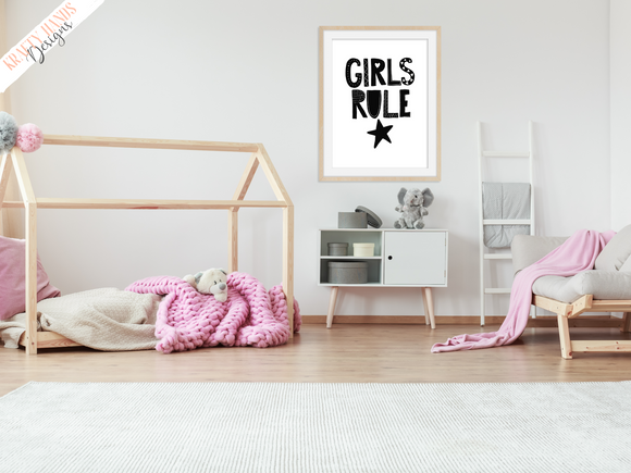 Scandinavian - Girls Rule - Nursery Print - Krafty Hands Designs