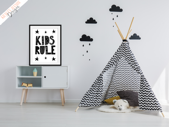 Scandinavian - Kids Rule - Nursery Print - Krafty Hands Designs