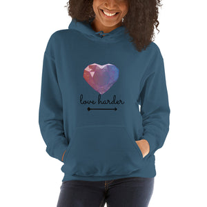 Love Harder - Women's Hooded Sweatshirt - Krafty Hands Designs