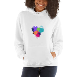 Paint Splat Heart - Hooded Women's Sweatshirt - Krafty Hands Designs