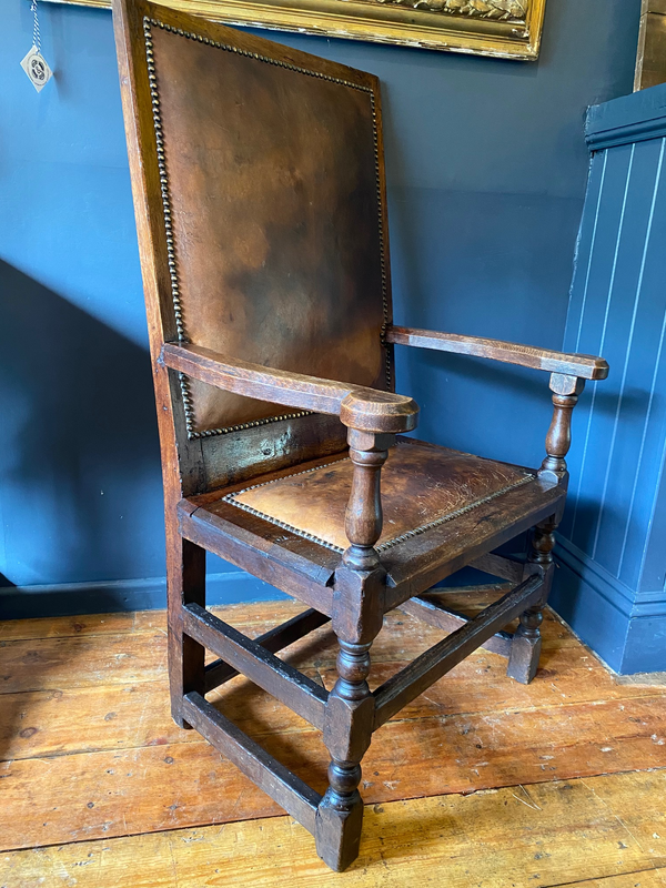 Rare 17th Century English Oak Chair Circa 1650 Later Leather Additions Stunning Example