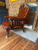 Late Georgian Gillows Leather Library/Fireside Chair. Cope & Collinson Ceramic Castors