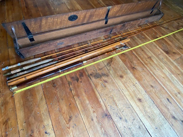 Antique Selection Of Hardys Of Alnwick Fly Fishing Rods & Mahogany Box