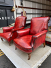 "Exceptional ""His & Hers"" Leather Library Club Arm Chairs"