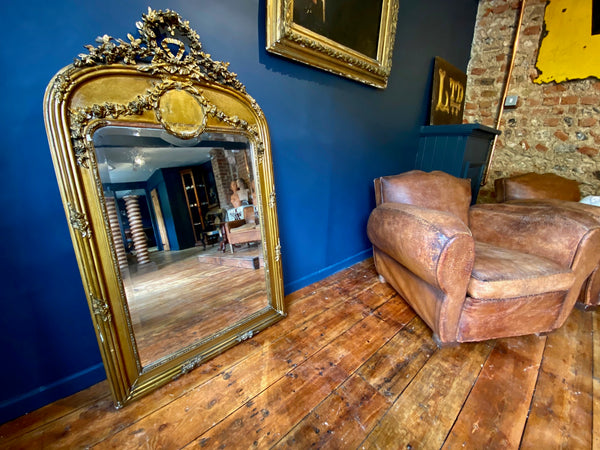 Large Antique French Gilt & Gesso Statement Wall/Floor Mirror Circa 1880