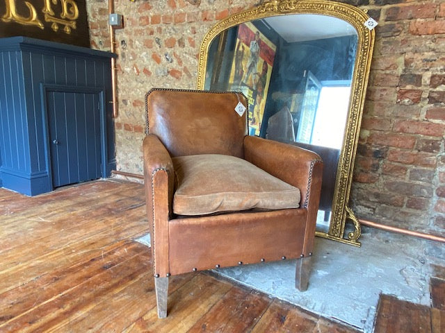 Antique French Studded Leather Club Chair