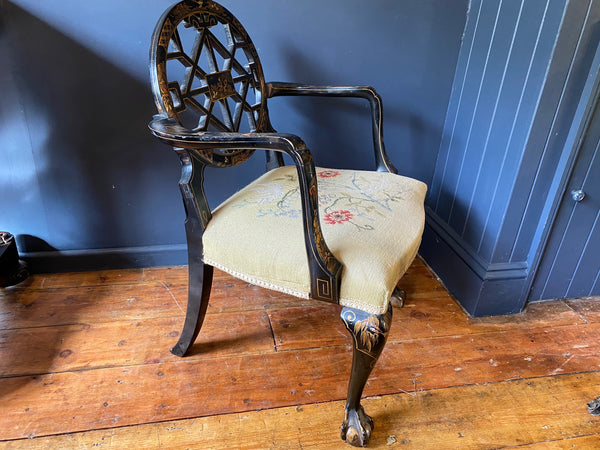 A Beautiful Gillows Chippendale Style Chinoiserie Open Arm Chair With Needlework Seat