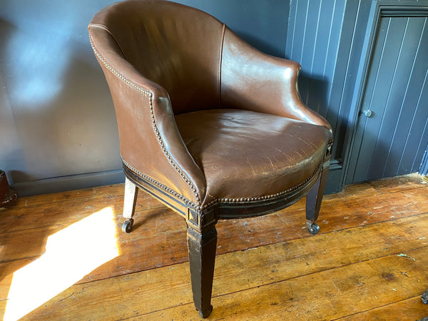Georgian Antique Leather Tub Chair
