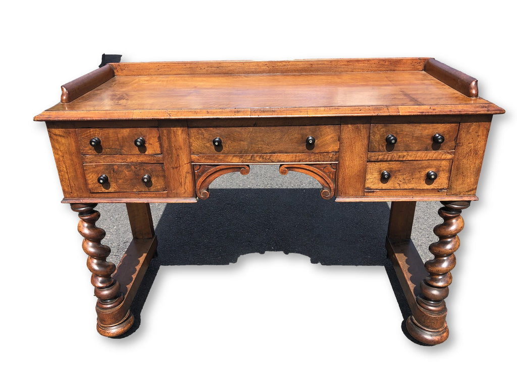 Antique Writing Table/Desk With Barley Twist Legs Circa 1880's