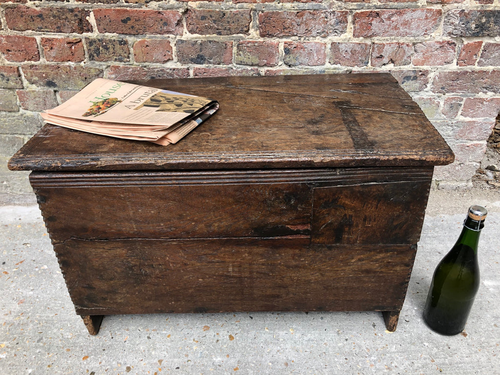 Exceptionally Rare Henry VII Medieval Oak Boarded Chest Circa 1480-1530