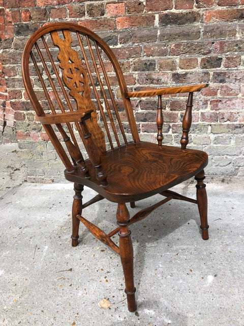Antique English Victorian Stick Back Elm & Yew Elbow Windsor Armchair
