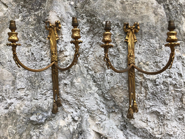 A Beautiful Pair Of Early French Gilt Twin Arm Wall Lights.