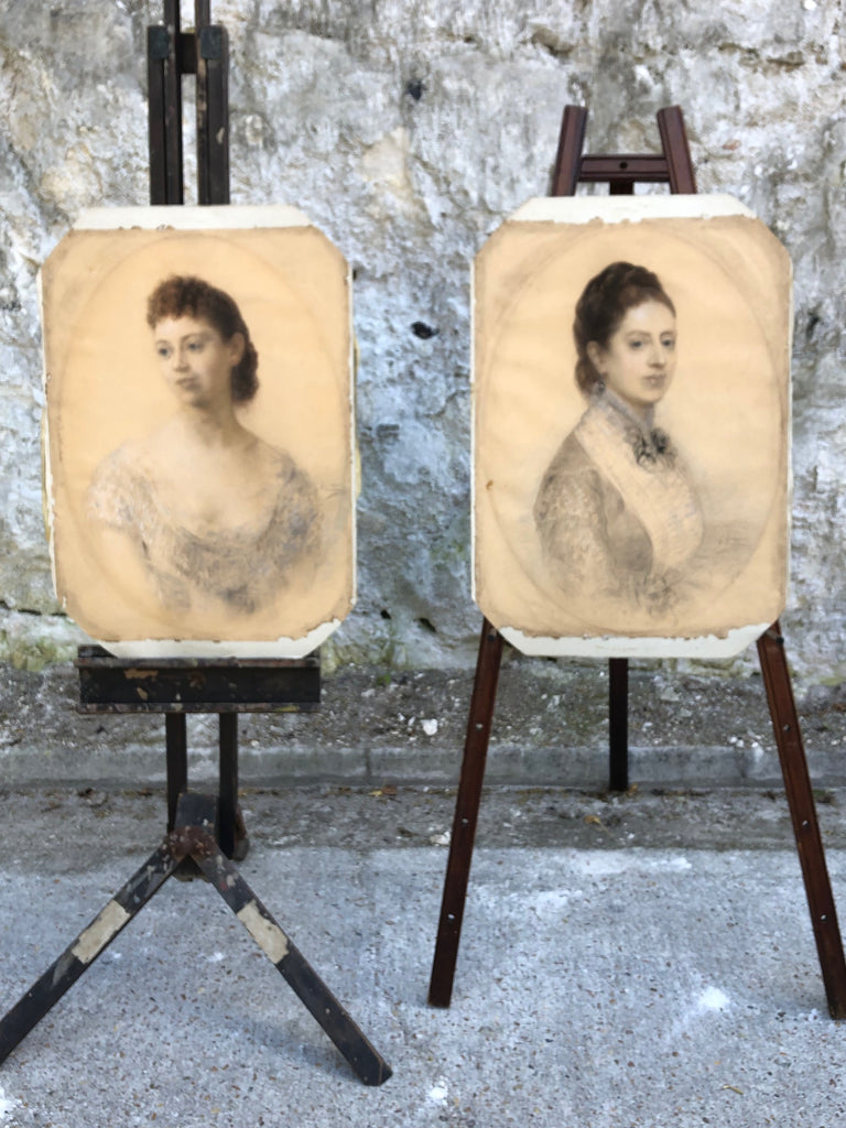 Exceptional Pair of English/Italian School Pastel & Chalk Portraits Grispini 1879