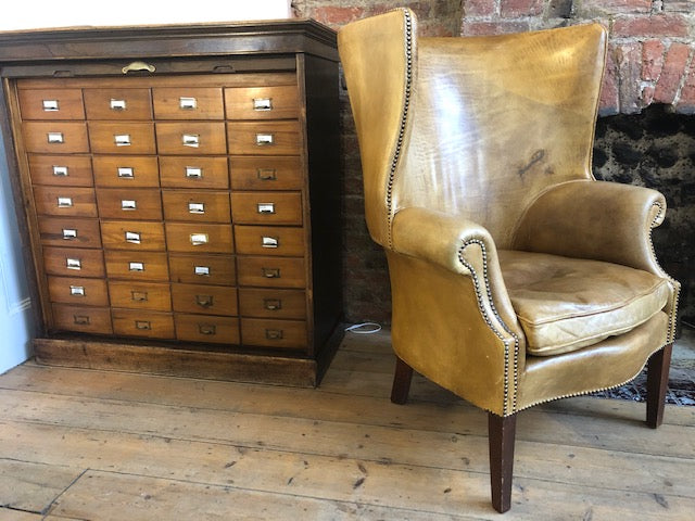 An Exceptional Georgian Style Barrel Back Leather Library/Fireside Arm Chair Of Generous Proportions