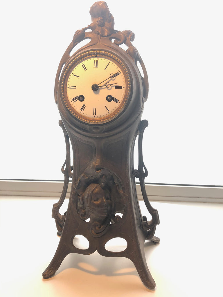 "Beautiful Antique 1890 Art Nouveau Mantle Clock Signed By Maker "" A Lesueur"""