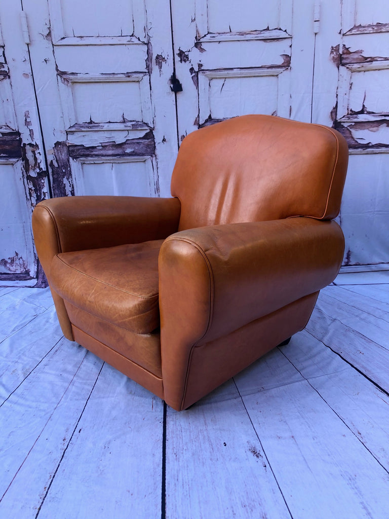 Vintage Moustache Back French Leather Club Chair
