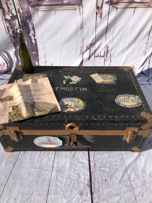 Military Steamer Trunk Circa 1895 With Original Voyage Labels.